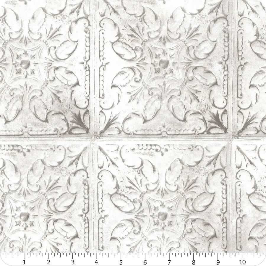 vintage farmhouse off white tin tiles yardage sku mrd15 289