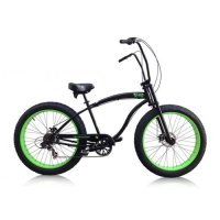 "MICARGI SLUGO SS 7-Speed 26"" Fat Tire Beach Cruiser Bike -- BLACK with NEON GREEN RIMS"