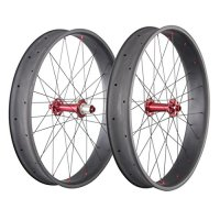 IMUST 26er 90mm Fatbike Carbon Wheels Clincher Tubeless Ready Rim 32 Holes Powerway Hub Thru Axle and Quick Release Interchangeable