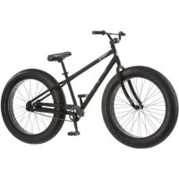 "26"" Mongoose Beast Men's Fat Tire Mountain with 3-piece Crank and Beach Cruiser Pedals, Black"