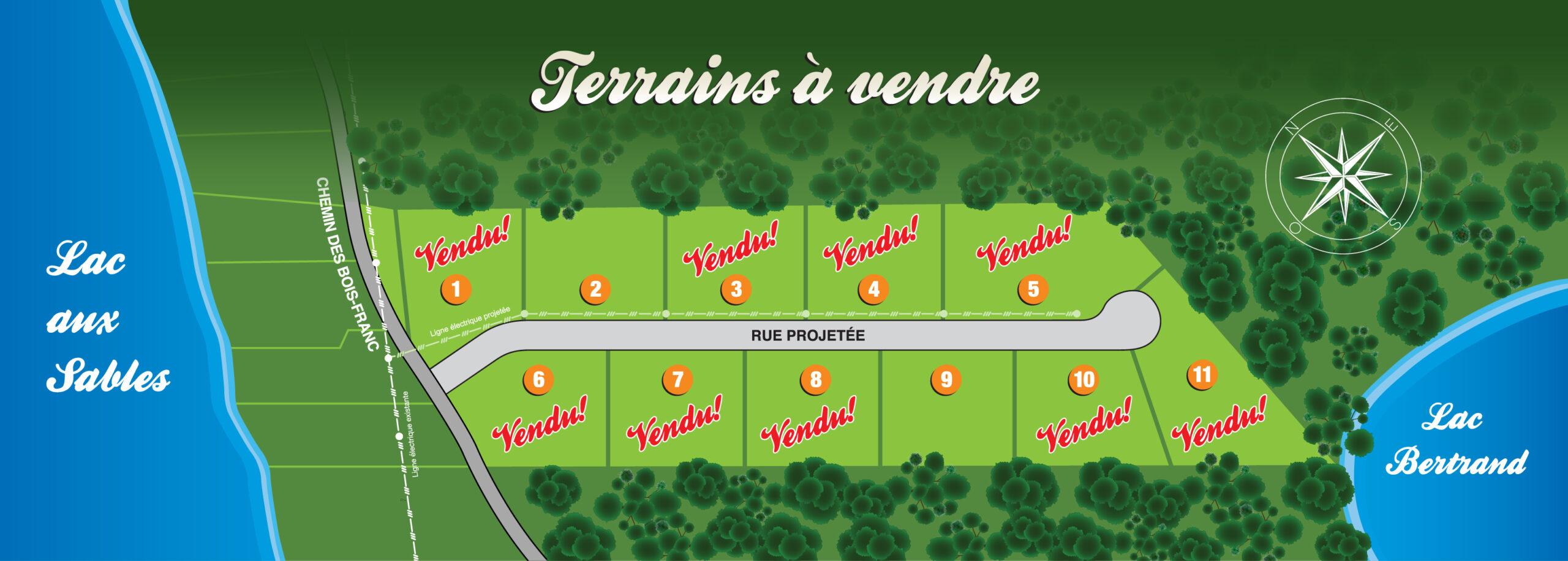 Plan des terrains, Faubourg du Lac-aux-Sables
