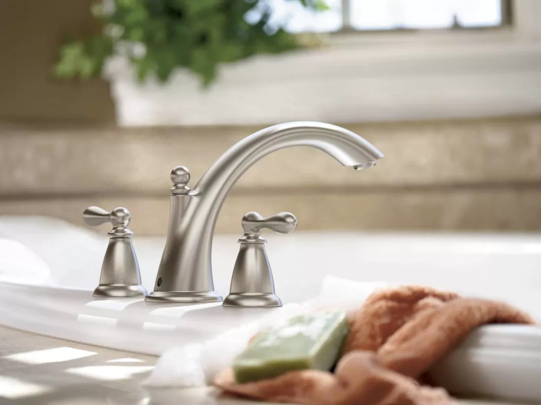 moen caldwell kitchen faucet glass cabinet doors faucet.com | 86440brb in mediterranean bronze by