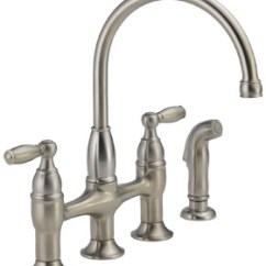 Two Handle Kitchen Faucet Remodel Orange County Delta 21966lf Ss Dennison Review Bridge