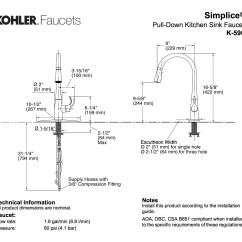 Kohler Shower Valve Parts Diagram Gmc Stereo Wiring K 596 Cp Simplice Single Hole Pulldown Kitchen