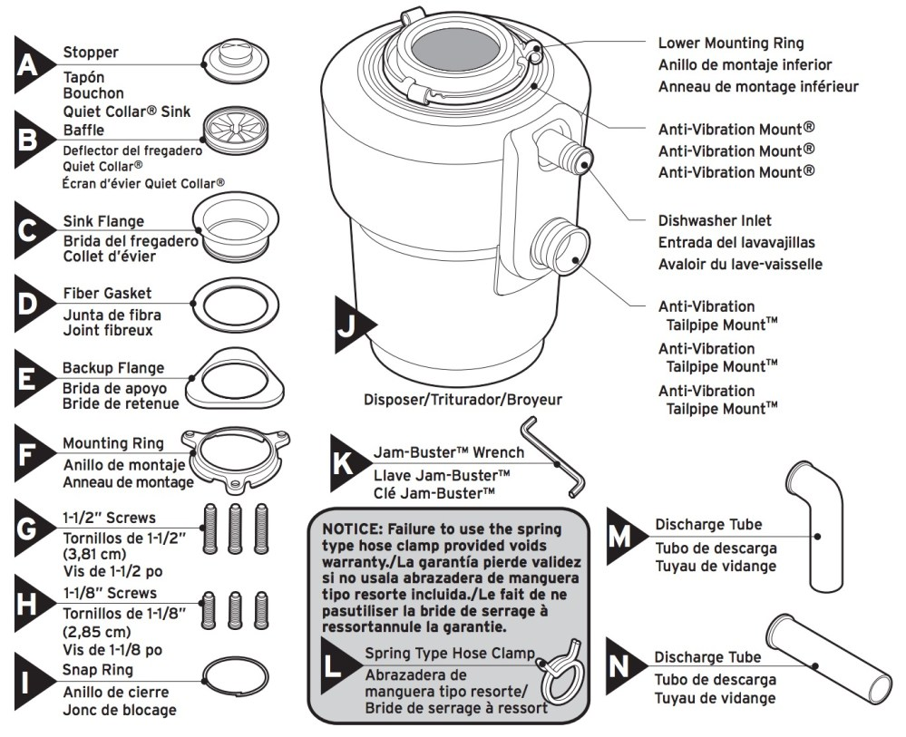 medium resolution of insinkerator evolution excel garbage disposal faucetdepot com disposal parts diagram along with insinkerator garbage disposal parts