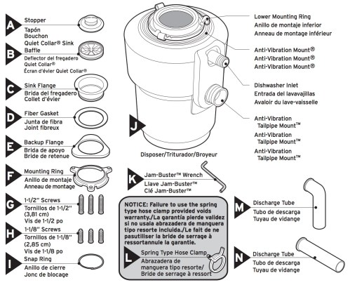 small resolution of insinkerator evolution excel garbage disposal faucetdepot com disposal parts diagram along with insinkerator garbage disposal parts