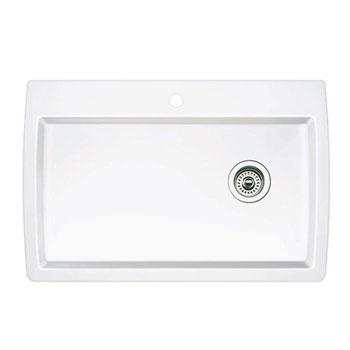 blanco 440195 diamond super single bowl drop in silgranit ii kitchen sink white