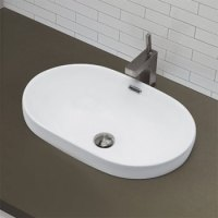 Decolav 1456-CWH Semi Recessed Oval Lavatory Sink ...