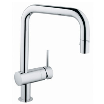 chrome kitchen faucet slice rugs mats grohe 32 319 000 minta dual spray pullout