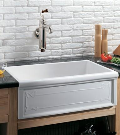 Herbeau 4614 Luberon Art Nouveau Fireclay Single Bowl Farmhouse Kitchen Sink  White