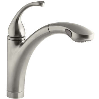 brushed nickel kitchen faucet with sprayer storage containers faucets kohler k 10433 bn forte single handle pull out