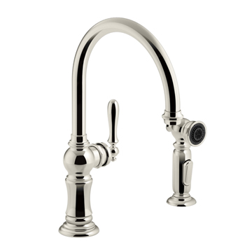polished nickel kitchen faucets at