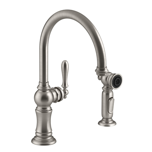 kohler k 99262 vs artifacts 2 hole kitchen sink faucet with 14 11 16 swing spout and matching side spray vibrant stainless