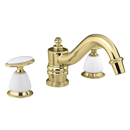 kohler k t125 9b pb antique deck mount high flow bath faucet trim polished brass