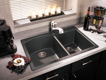 home depot delta kitchen faucets drop in farmhouse sinks swanstone qzdb-3322-170 granite double bowl drop-in ...