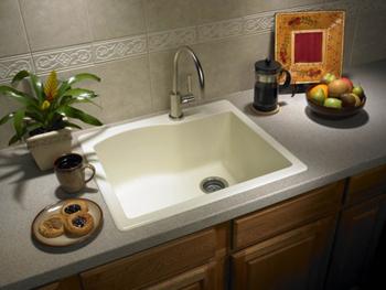 swanstone single bowl kitchen sink hand soap qzsb-2522-170 granite drop-in ...