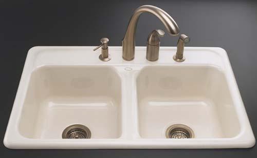 Kohler K 5817 4 96 Delafield Self Rimming Kitchen Sink With 4 Hole Faucet Drilling Biscuit
