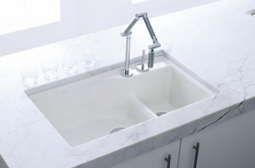 kohler k 6411 1 0 undercover double single hole cast iron kitchen sink from the indio series white