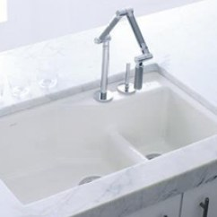 Kohler Cast Iron Kitchen Sink 4 Piece Stainless Steel Package Indio Sinks K 6411 2 0 Undercover Double Offset From The Series White