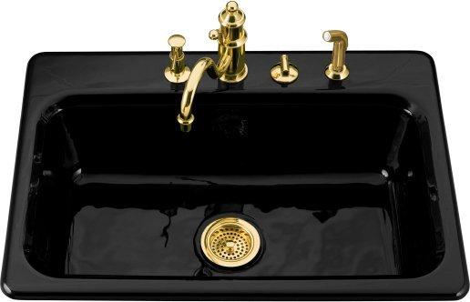 single bowl cast iron kitchen sink wooden bench for table kohler k 5832 3 7 bakersfield basin