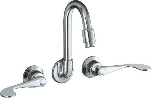 kohler k 7302 5a cp triton shelf back sink faucet with wristblade lever handles polished chrome
