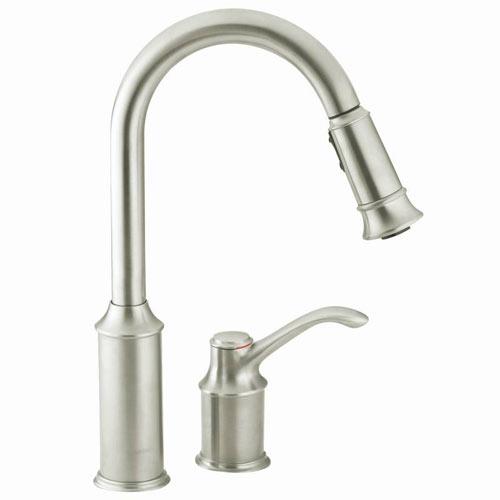 moen 7590csl aberdeen single handle pullout kitchen faucet classic stainless