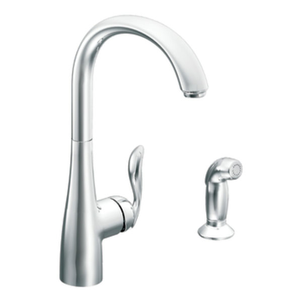 moen 7790 arbor single handle high arc kitchen faucet with side spray chrome