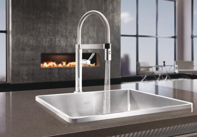 Blanco 441624 Culina Mini 18 GPM Kitchen Faucet with Pull Down Spray  Chrome  FaucetDepotcom