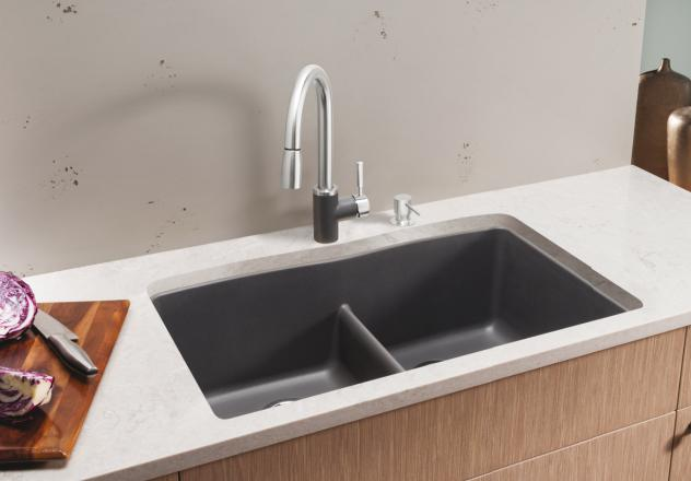 farmhouse kitchen faucet cabinets san diego blanco 442071 diamond equal double bowl with low-divide ...