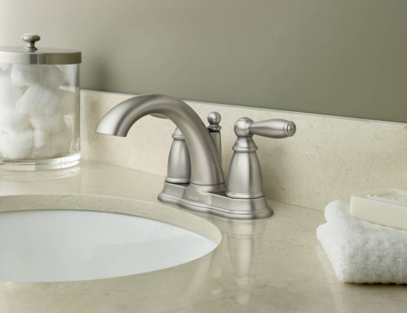 Moen 6610BN Brantford Two Handle Centerset Lavatory Faucet Brushed Nickel  FaucetDepotcom