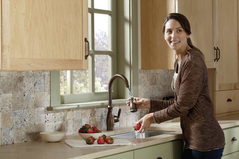moen kitchen runner washable 7185orb brantford one handle high arc pulldown faucet