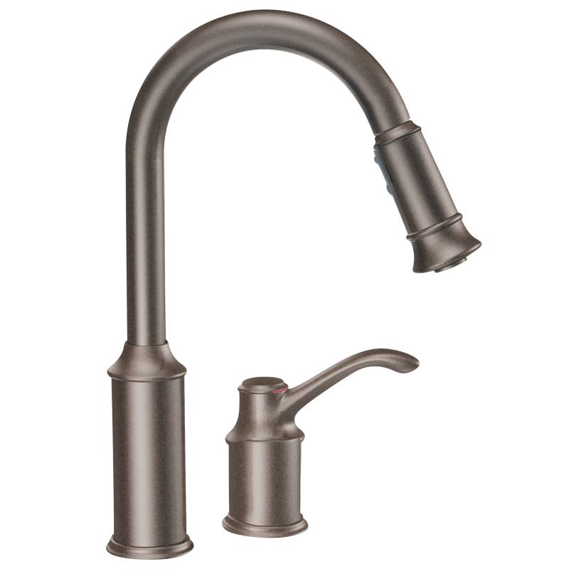kitchen faucet moen cabinet pulls and knobs 7590orb aberdeen single handle pullout oil