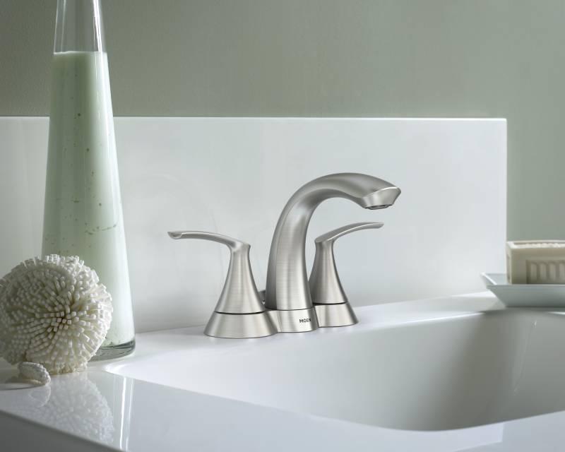 moen 84550srn darcy two handle high arc 4 centerset lavatory faucet spot resist brushed nickel