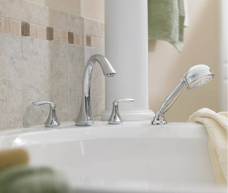 home depot faucets kitchen moen cabinet locks t944 eva two-handle roman tub faucet trim with hand ...