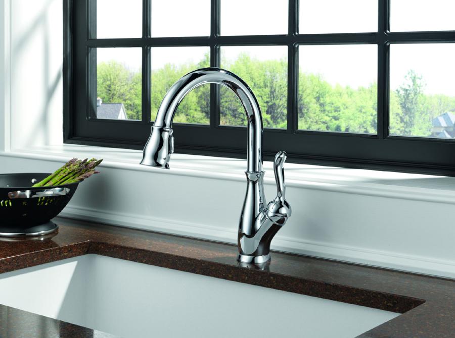 chrome kitchen faucet moen renzo delta 9178 dst leland single handle pull down