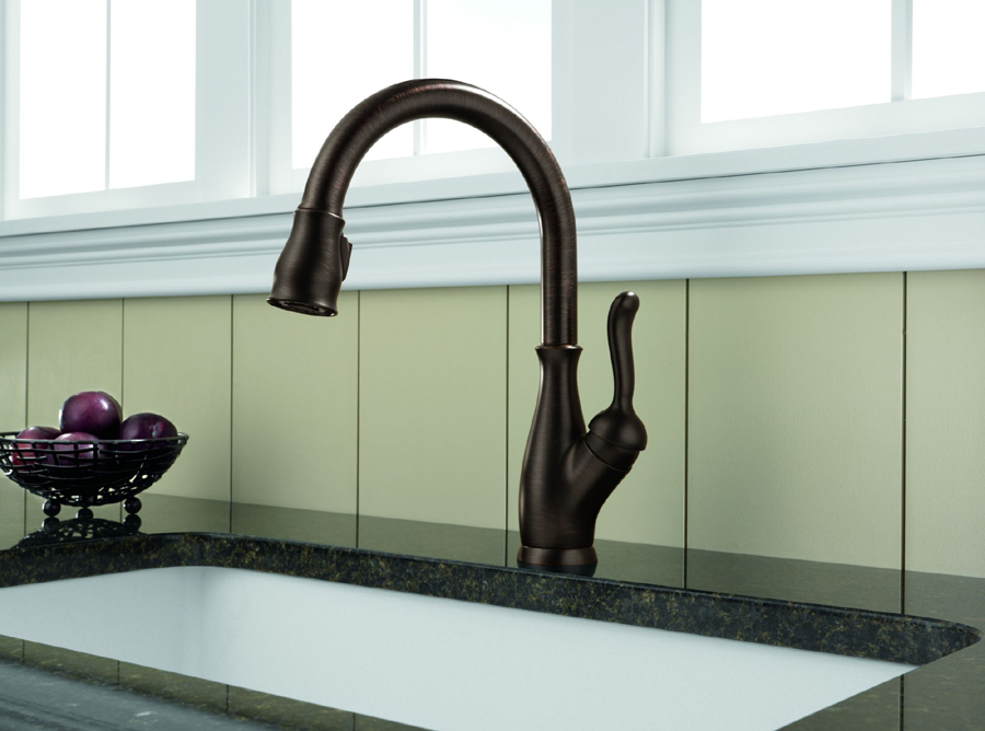 kitchen faucet with pull down sprayer aid pasta attachments delta 9178-rb-dst leland single handle pull-down ...