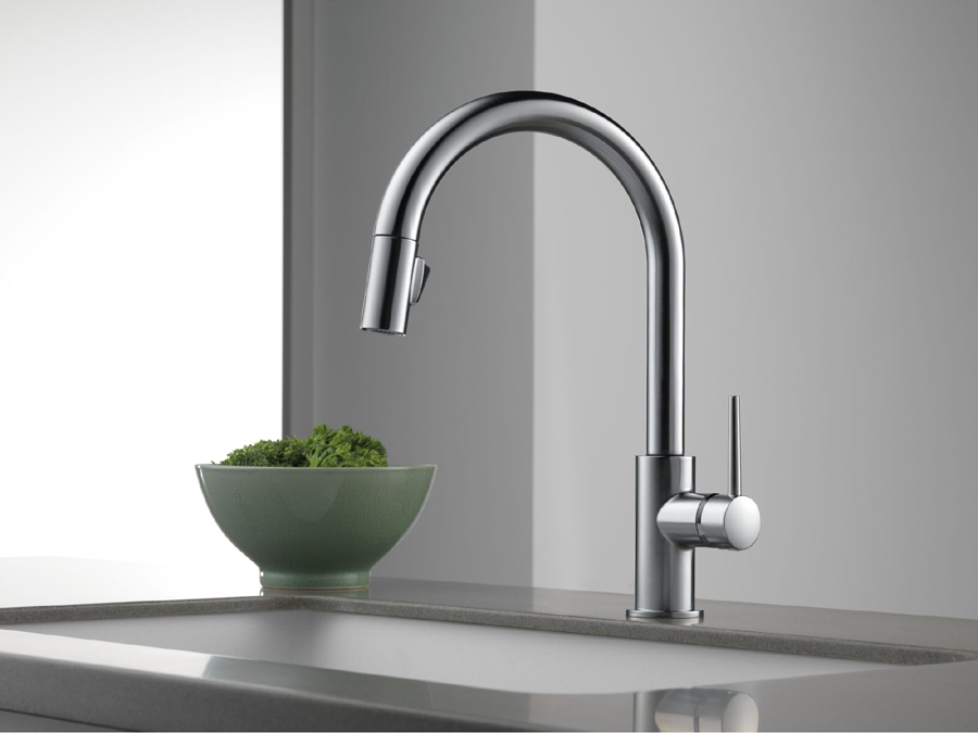 kitchen faucets stainless steel st charles cabinets delta 9159 ar dst trinsic single handle pull down faucet