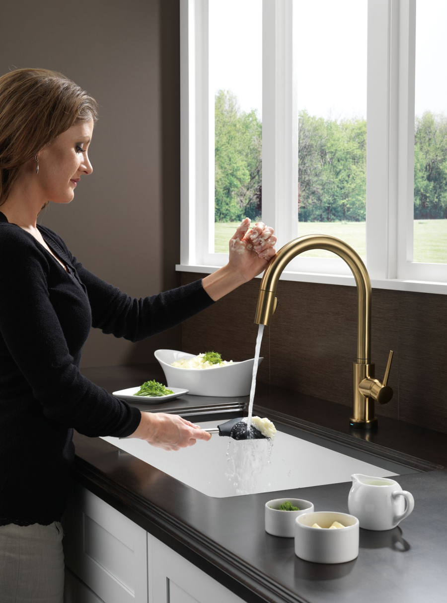 kitchen faucet filter island white delta 9159t-cz-dst trinsic single handle pull down ...