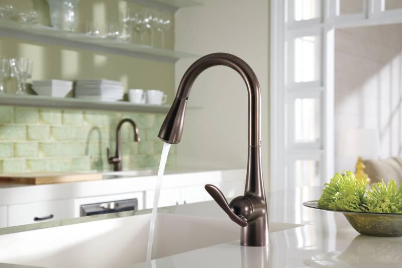 moen 7594orb arbor single handle high arc pulldown kitchen faucet oil rubbed bronze