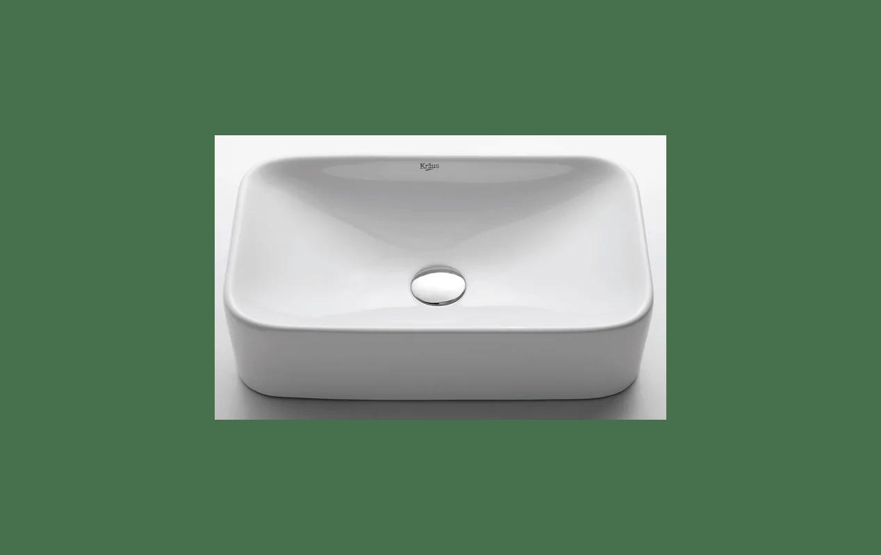 Kraus Kcv 122 White Ceramic 19 Ceramic Vessel Bathroom