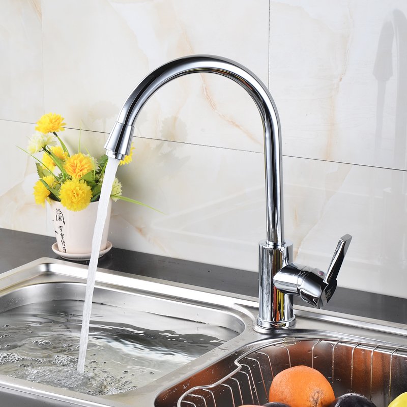 kitchen water faucet cabinet refacing tampa modern brass sink with cold and hot