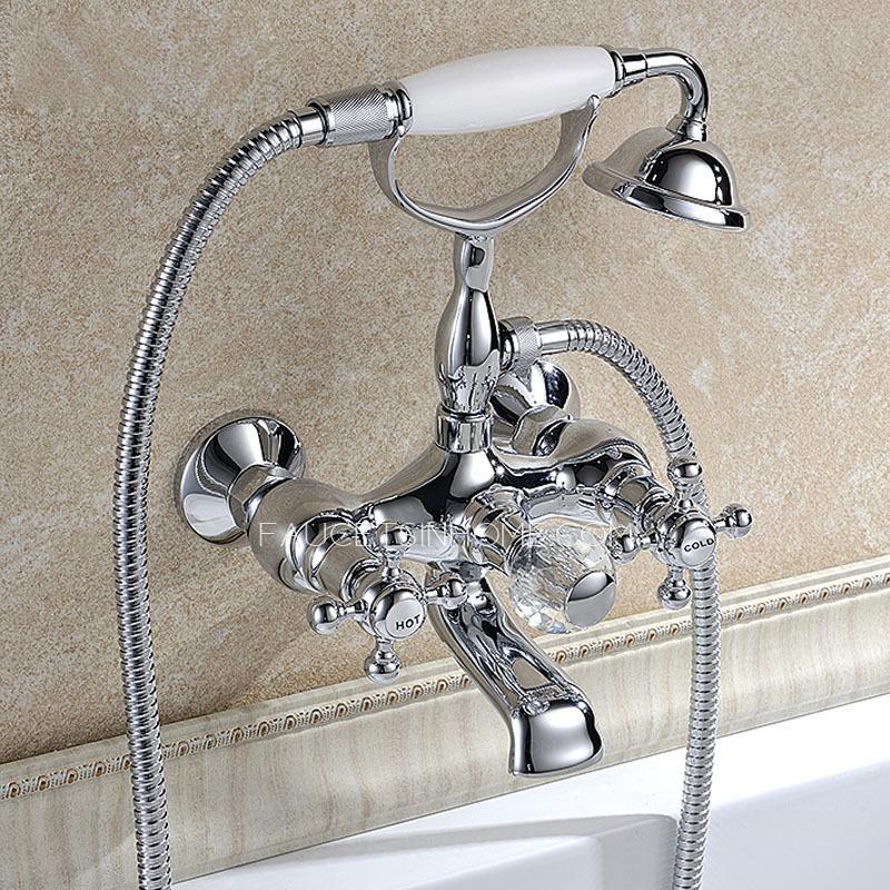 Luxury Silver Vintage Wall Mount Bathtub Shower Faucet