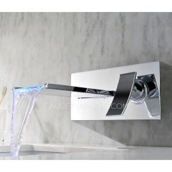Single Hole Kitchen Faucet Undermount Sinks Modern Waterfall One Wall Mounted Led For Bathroom
