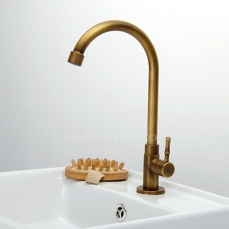 Cheap Antique Brass Tall Rotatable Bathroom Sink Faucet