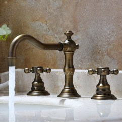 Antique Kitchen Sinks Countertops Las Vegas Vintage Bronze Three Hole Bathroom Sink Faucet