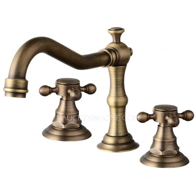Vintage Antique Brass Three Hole Cross Handle Bathroom Faucet FTSIH150416053627 1
