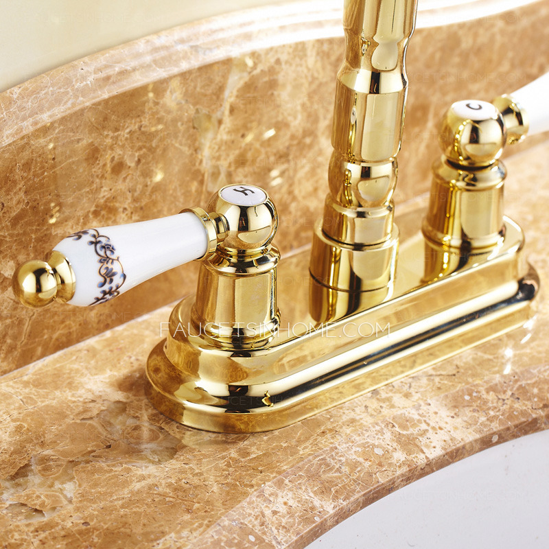 Antique Polished Brass Two Handles Gold Bathroom Sink Faucet