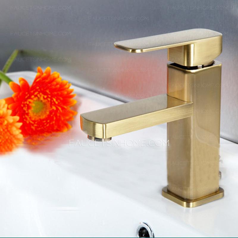 simple brushed gold square shaped bathroom sink faucet ftsih150416062522