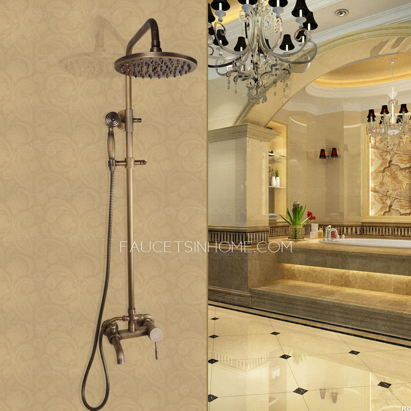 antique copper shower faucet system with hand held shower ftsih15041701406