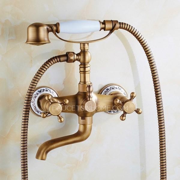 Vintage Antique Brass Pocelain Shower Handle Bathtub Faucet